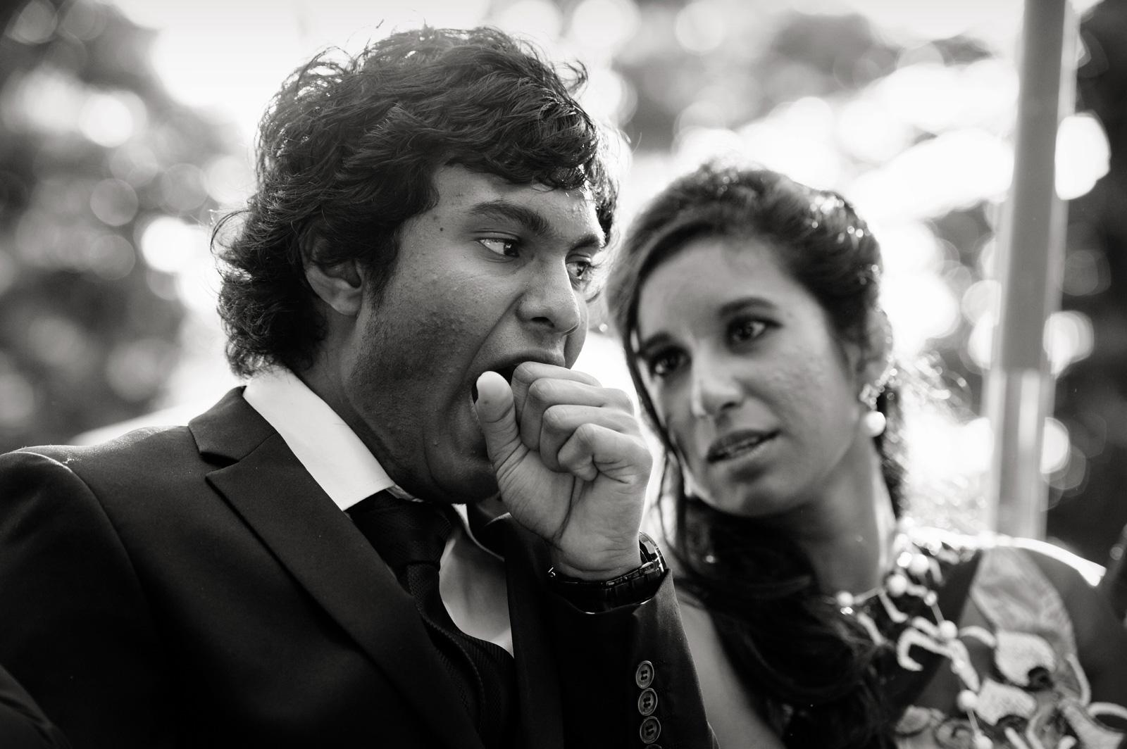 guests yawning at wedding