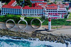 Wedding rings on postcard