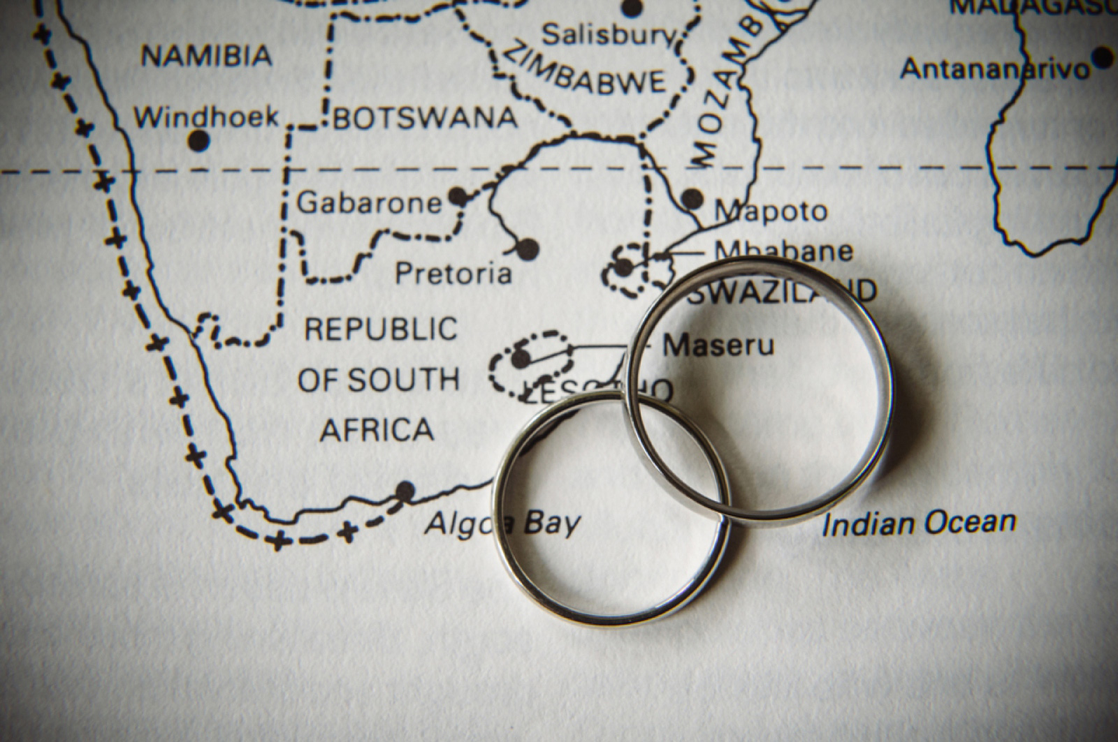 Wedding rings on a map