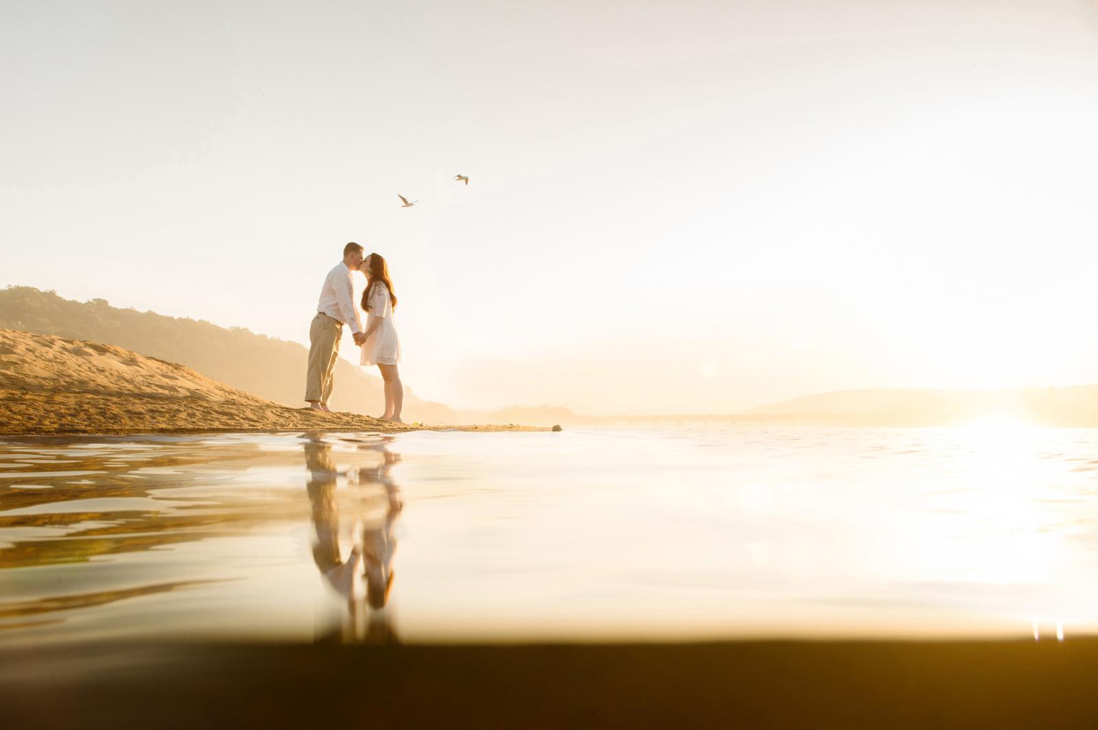 couple kiss on a beach