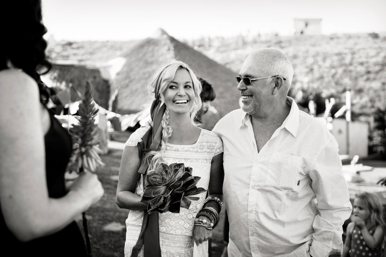 bohemian bride with father