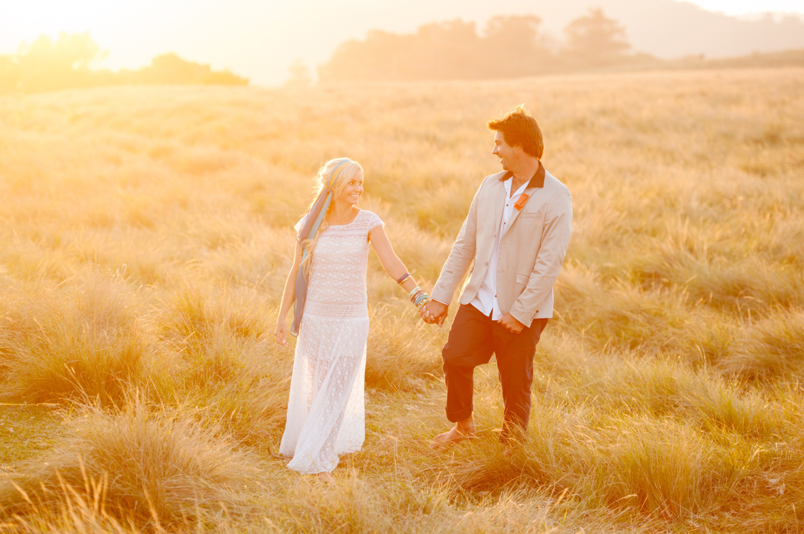 bohemian beach wedding couple
