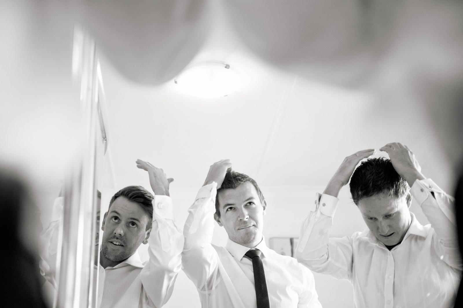 Men styling hair
