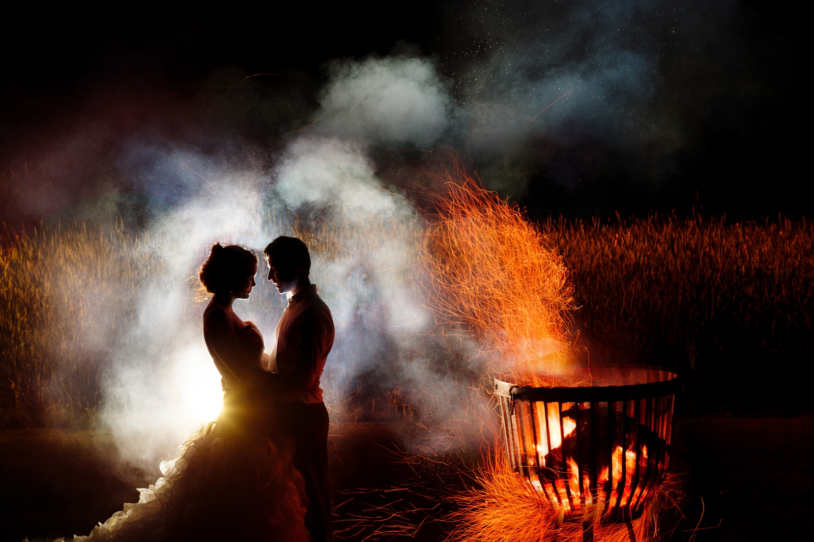 Bride and Groom in Fire