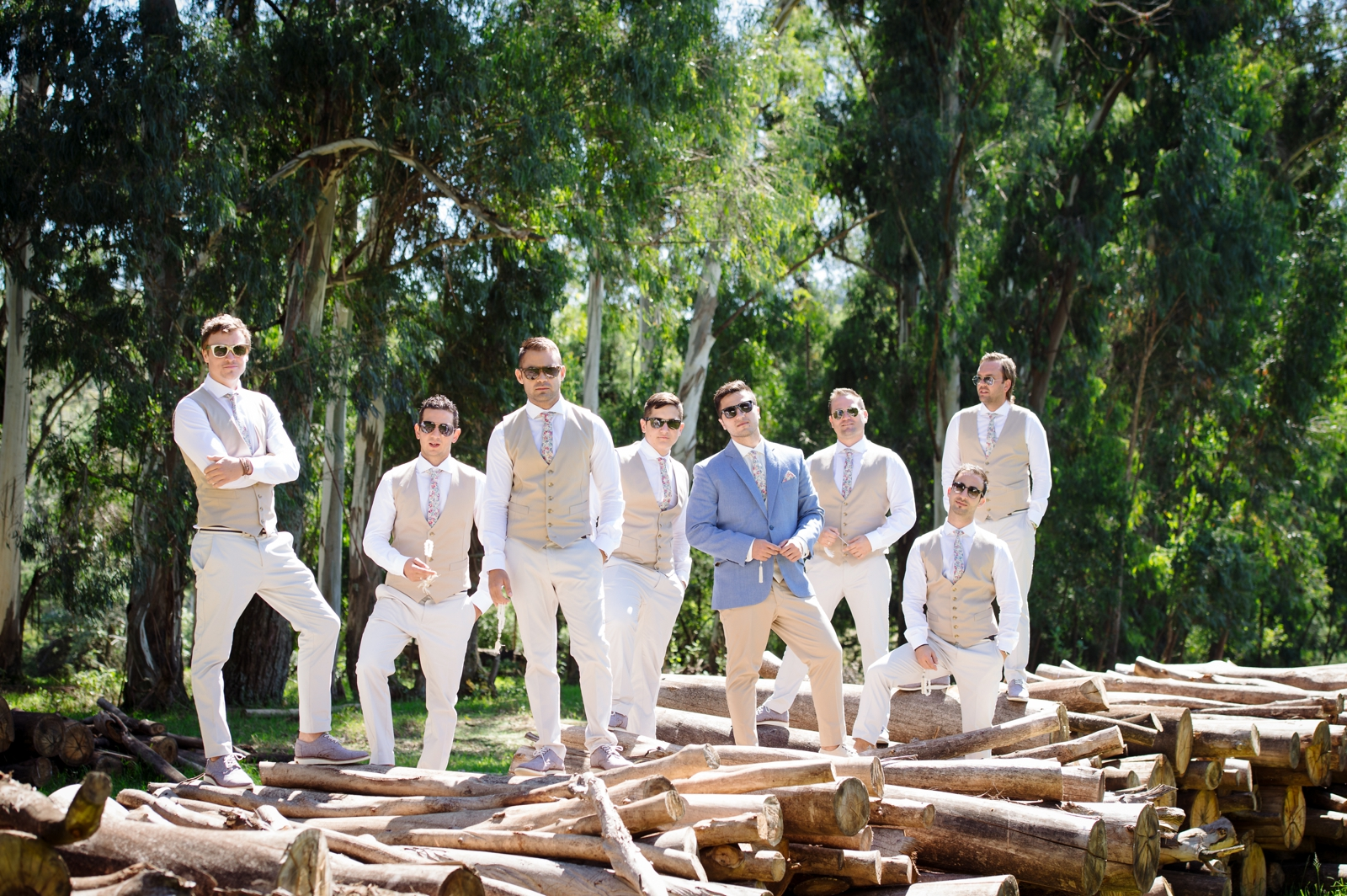 Groomsmen on wood