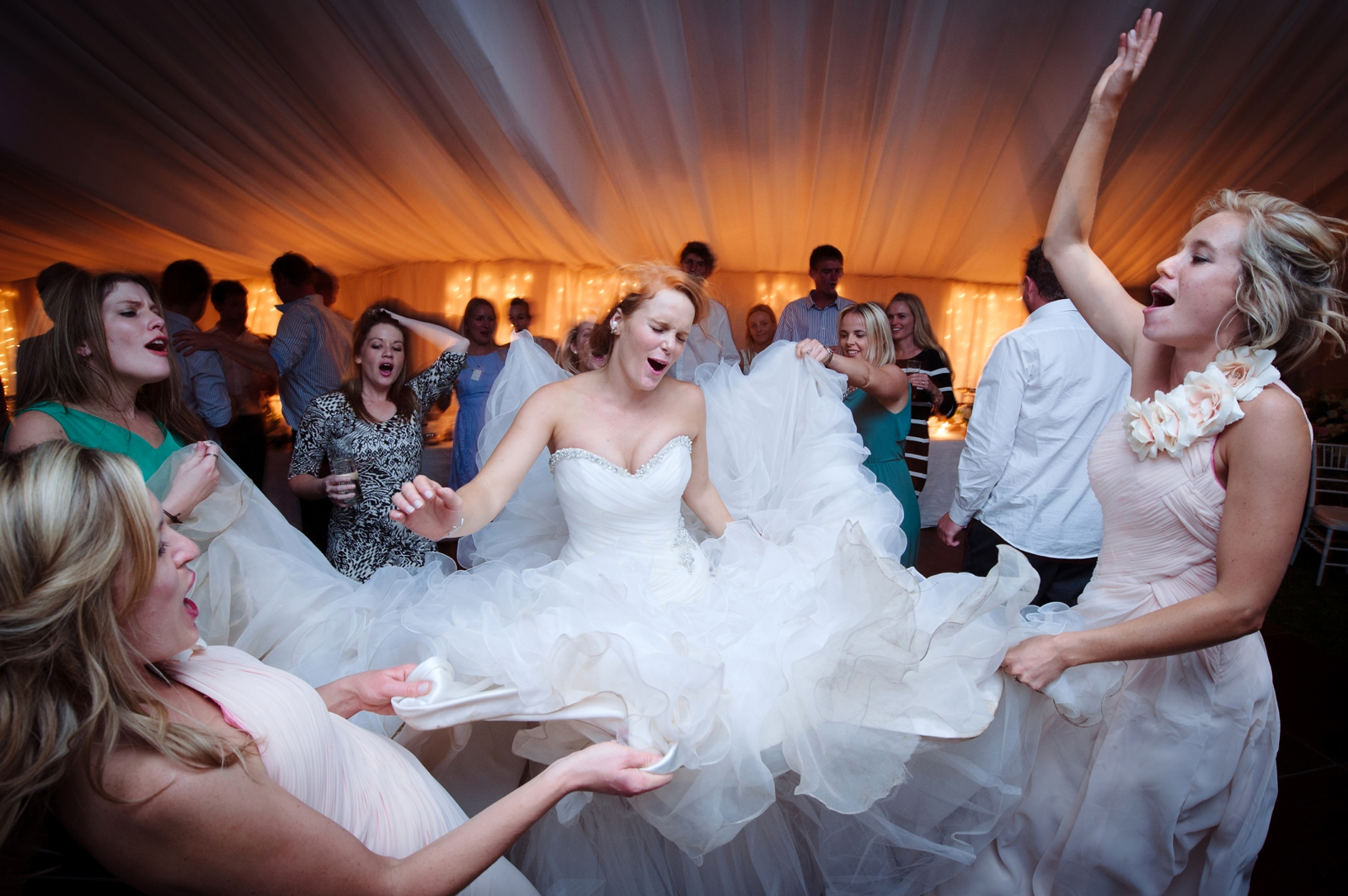 Bride dances in massive dress