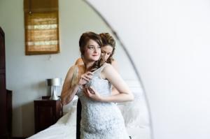 Sister dresses bride