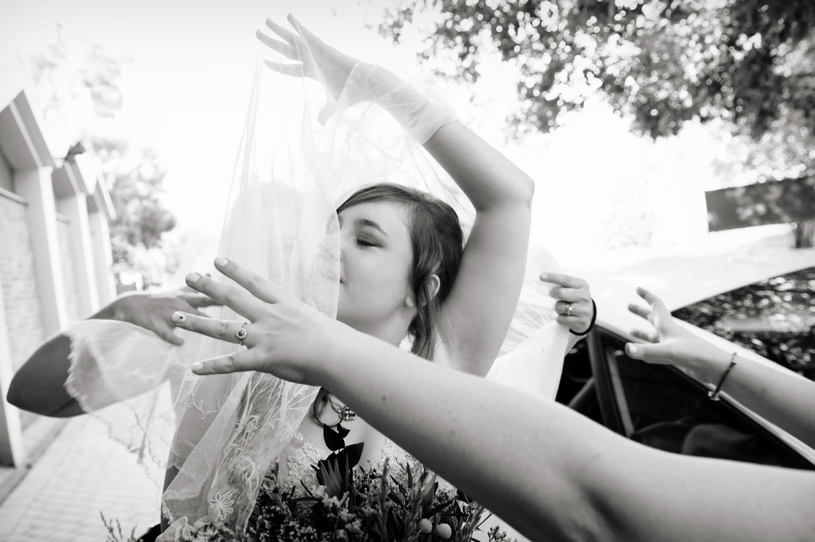 Bride fights with veil