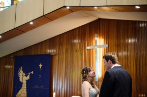 Bride and Groom and Cross