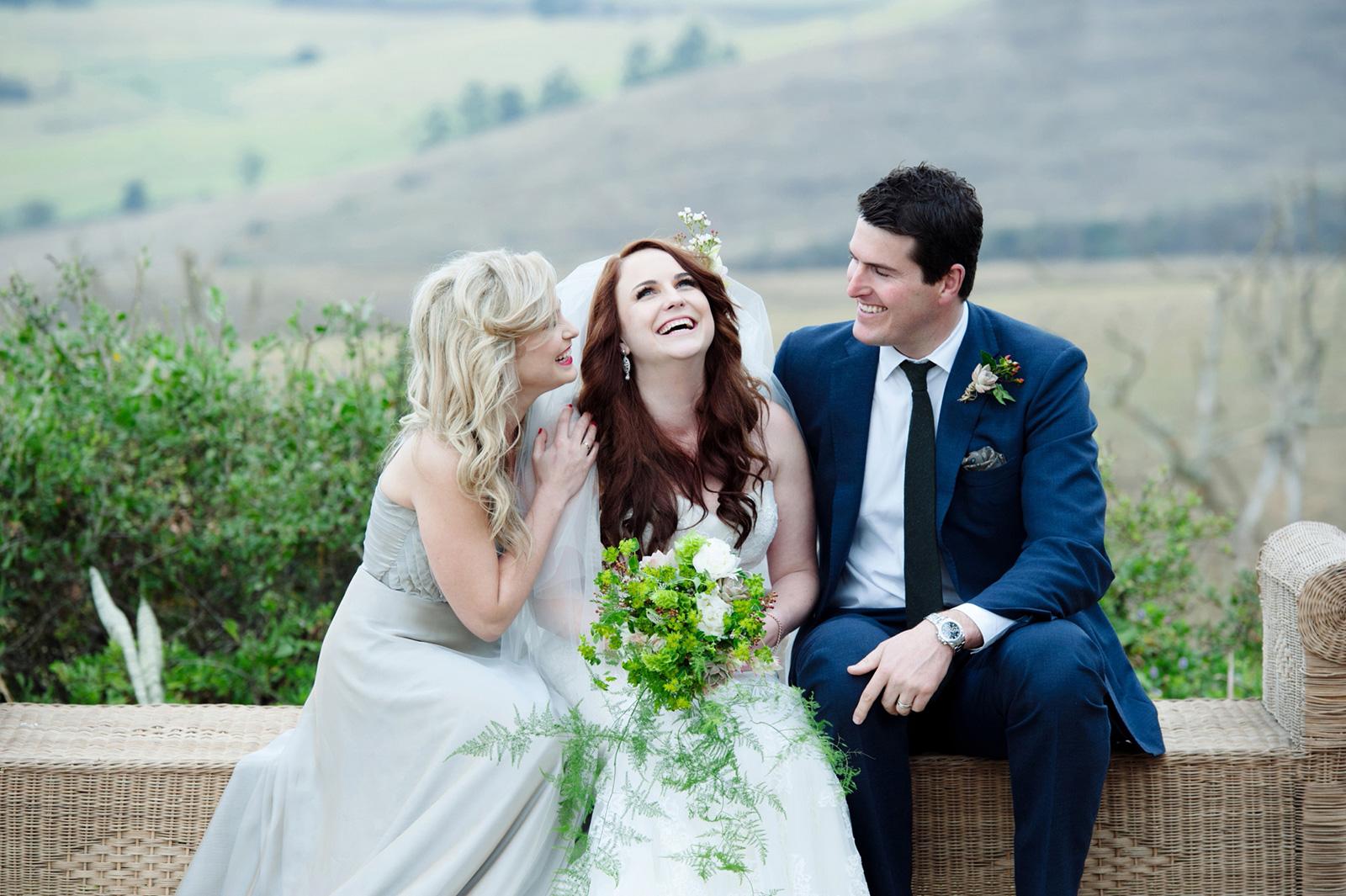 Bride and siblings
