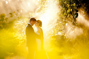 Bride and Groom in light