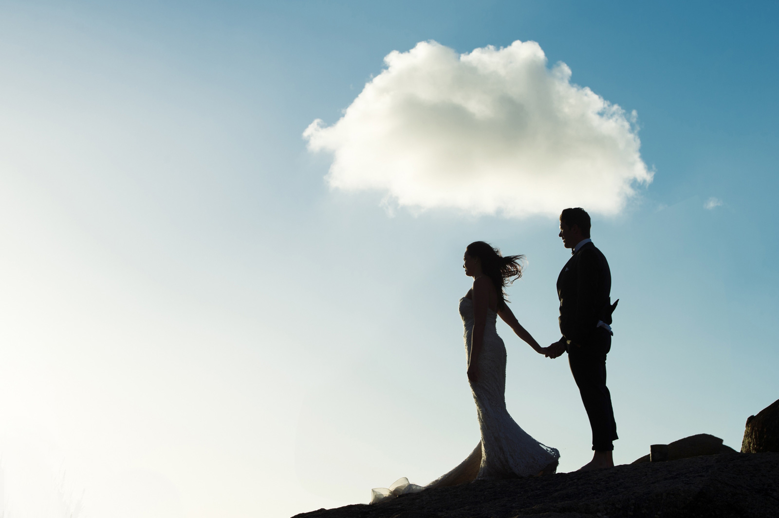 Bride and Groom with cloud