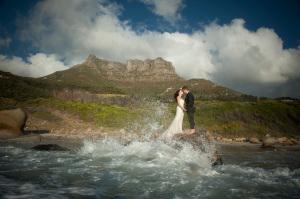 Bride and Groom in Cape Town ocean