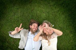 Couple lying on grass