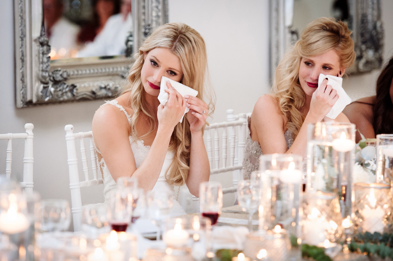 Emotional bride and sister