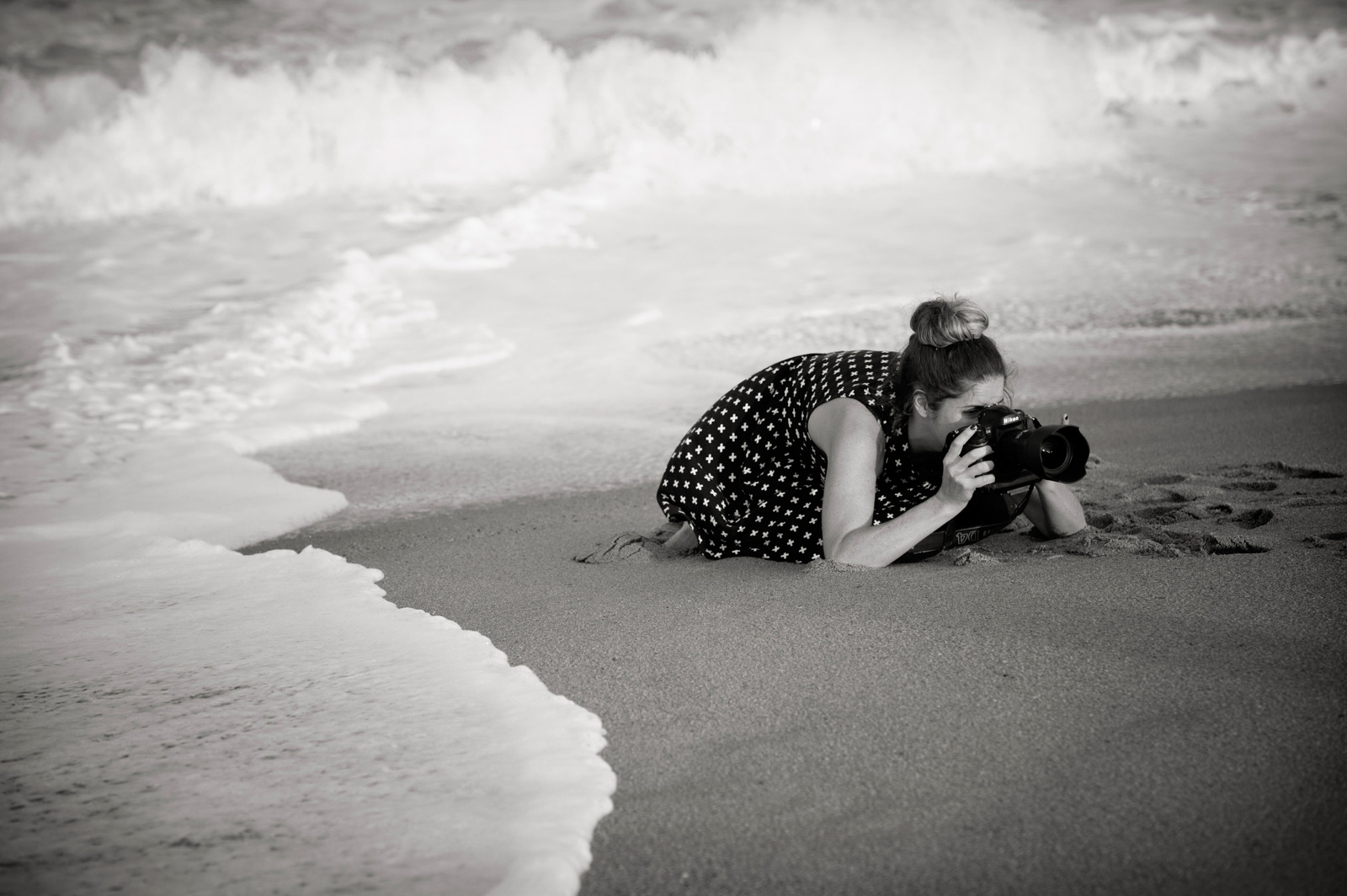 Photographer on beach