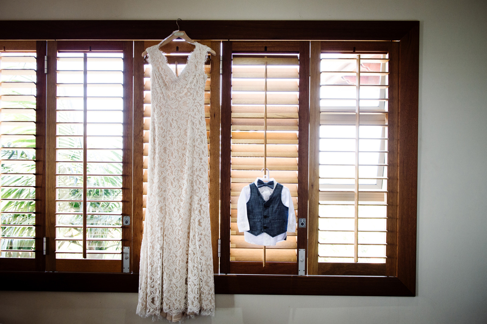 Wedding dress and baby suit