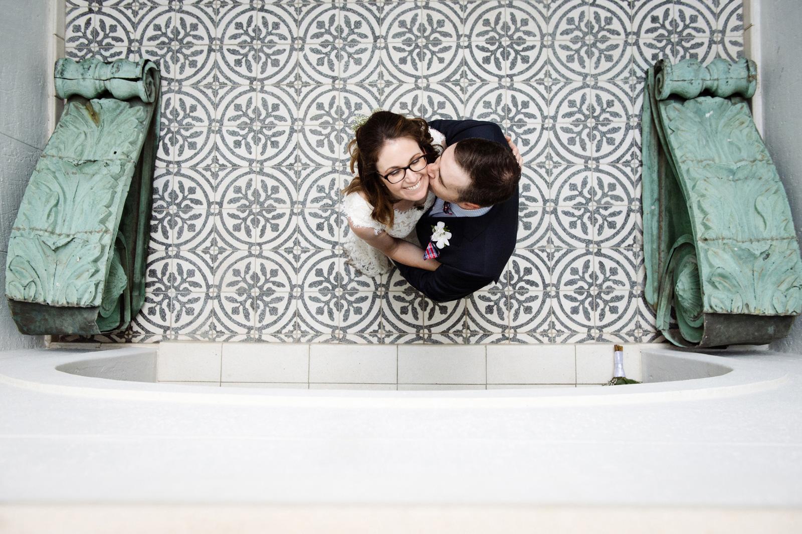Bride and groom mosaic