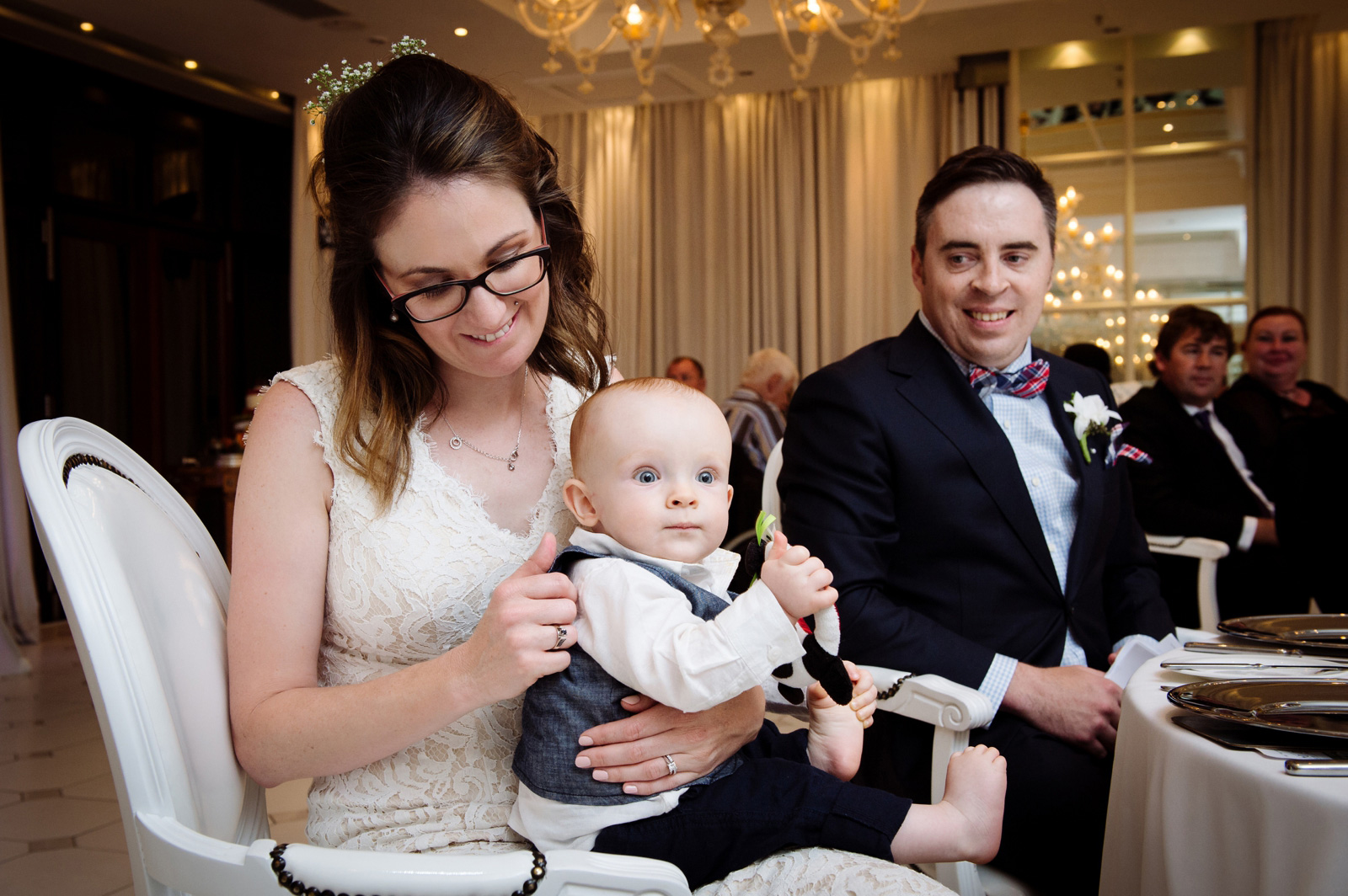 Bride, Groom and Baby