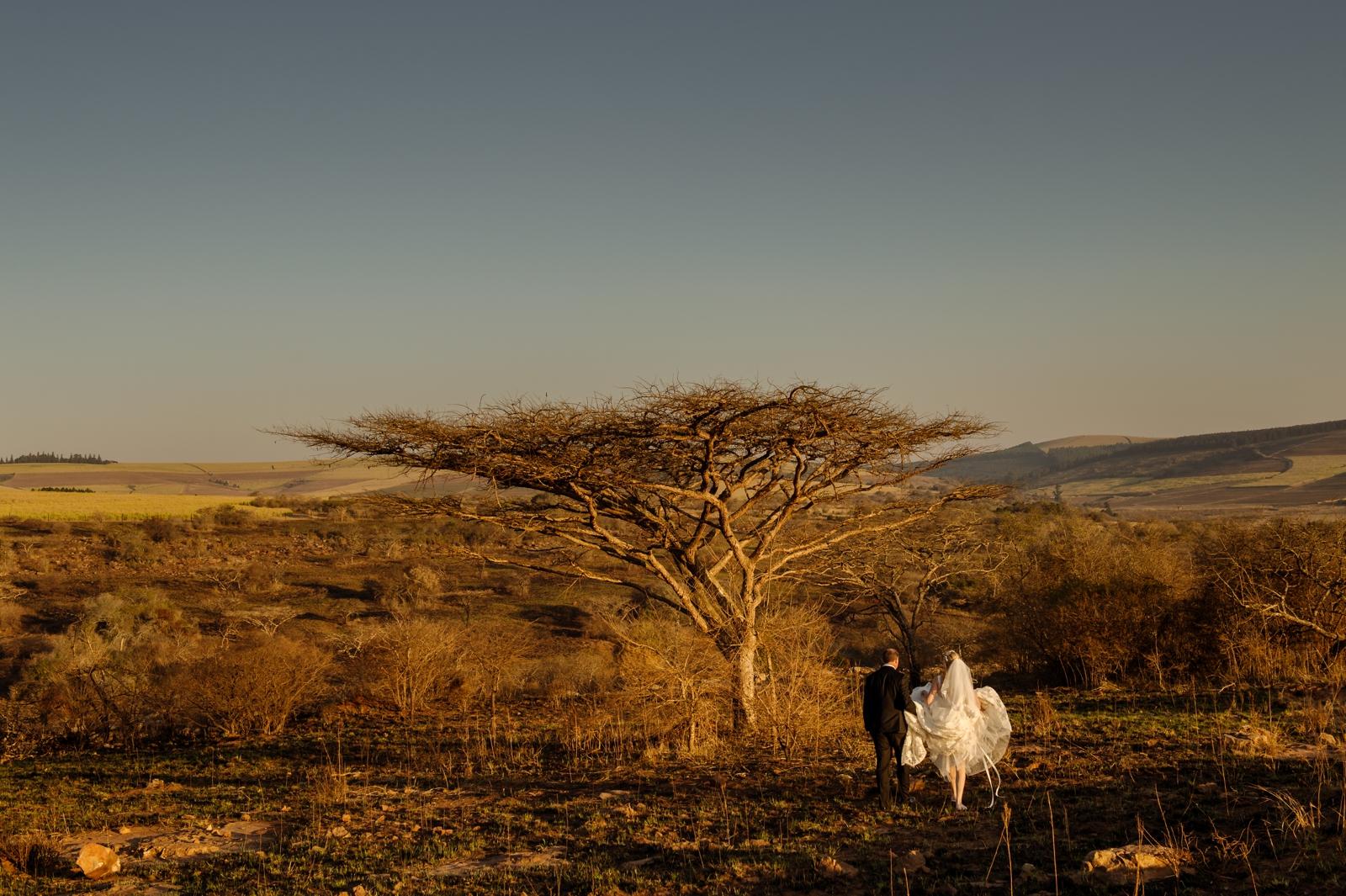 bride and groom african safari