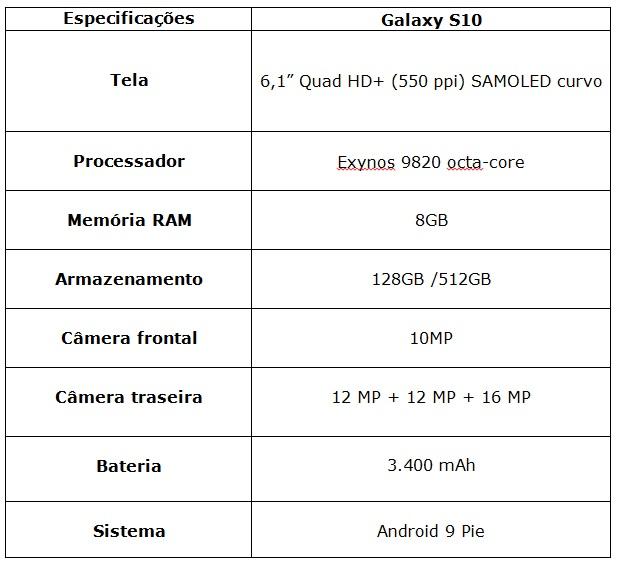 especificações linha S10