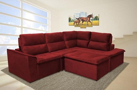 sofá retrátil com puff