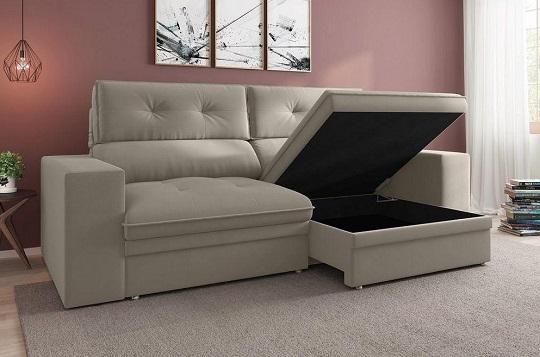 sofá retrátil com baú