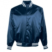 Satin Baseball Jacket with Striped Trim