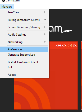JamKazam Preference menu