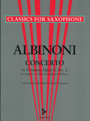 Albinoni Concerto In D minor, Opas 9, No. 2 - Soprano or Tenor Sax/Piano