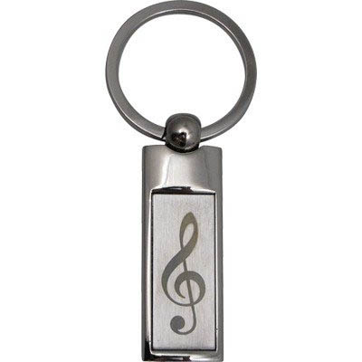 Rectangle Treble Clef Keychain
