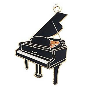Black Grand Piano Music Keychain