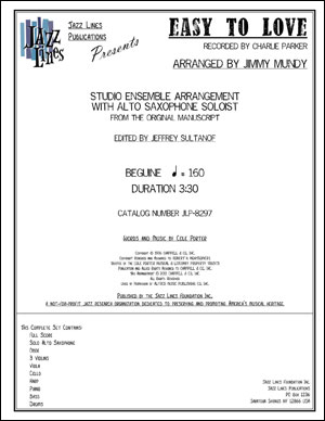 EASY TO LOVE - STUDIO ENSEMBLE ARRANGEMENT WITH ALTO SAX SOLO
