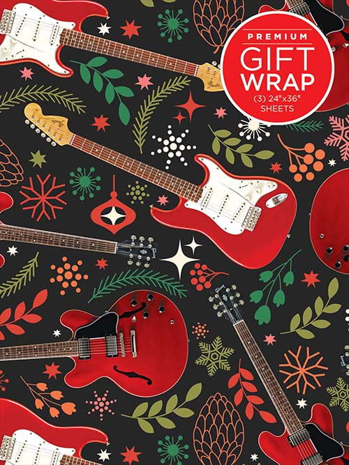 Holiday Wrapping Paper - Red Guitar Theme