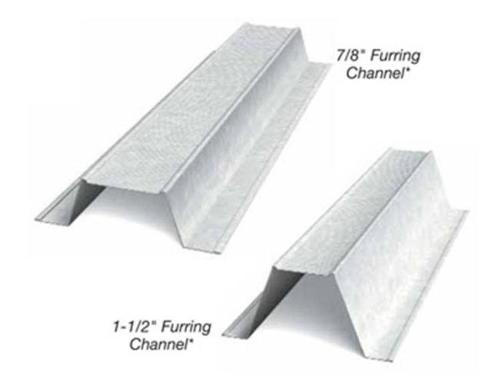 7/8 in x 10 ft x 20 Gauge 33 mil Furring Channel/Hat Channel