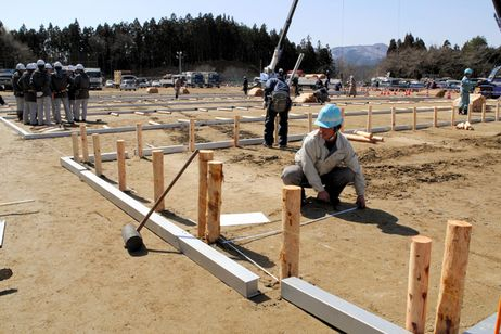 Temporary housing construction begins in quake-stricken areas
