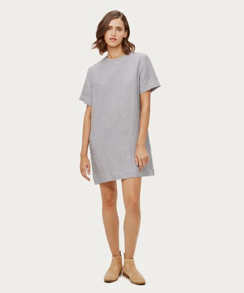 Linen Striped T-Shirt Dress