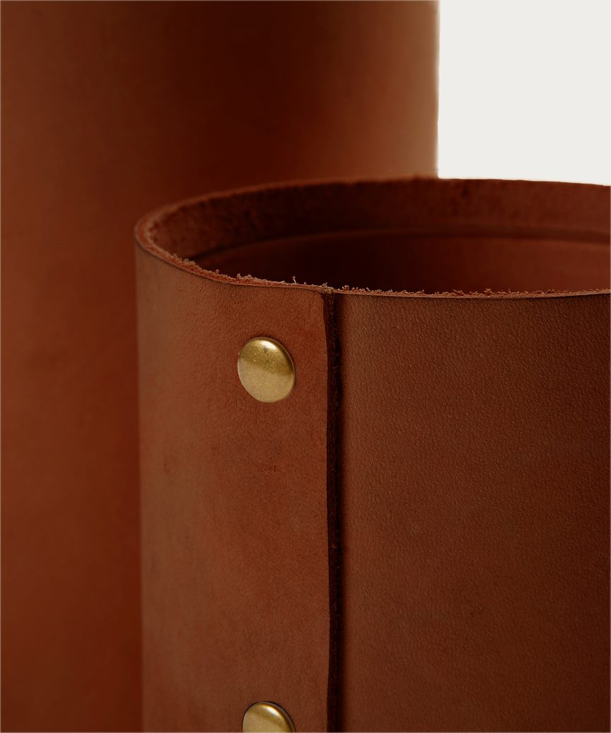 Small Leather Rivet Vase