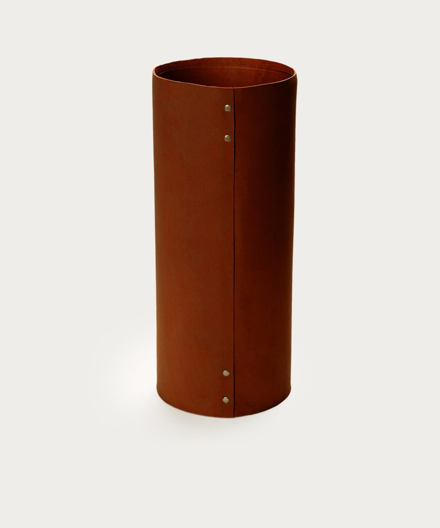 Large Leather Rivet Vase
