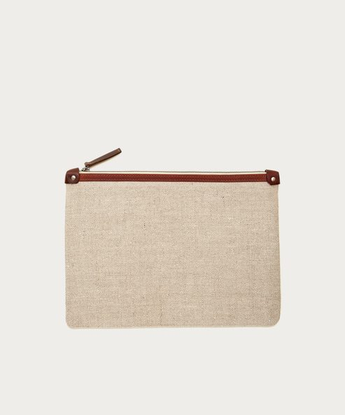 Large Linen Travel Clutch