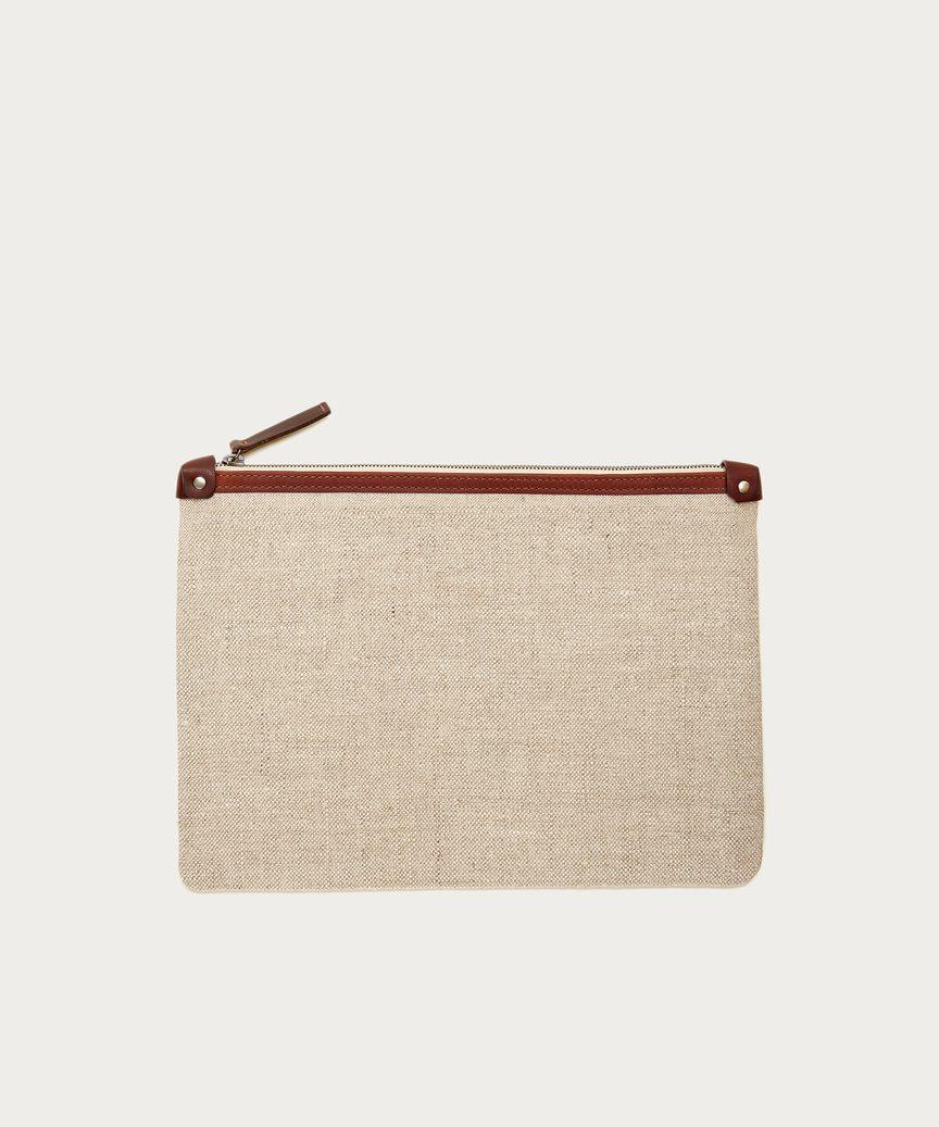 Large Linen Travel Clutch