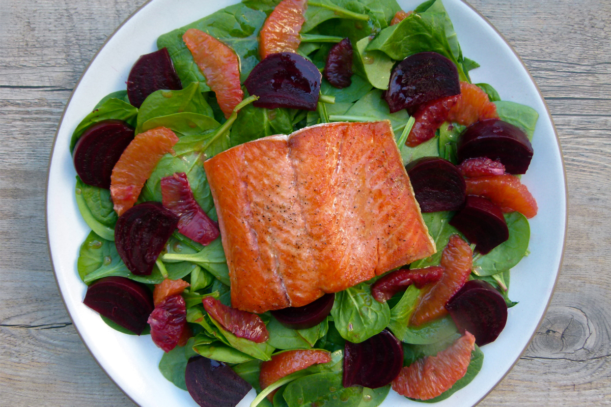 Pan-Seared Wild Salmon with Beet & Blood Orange Salad - Rip & Tan