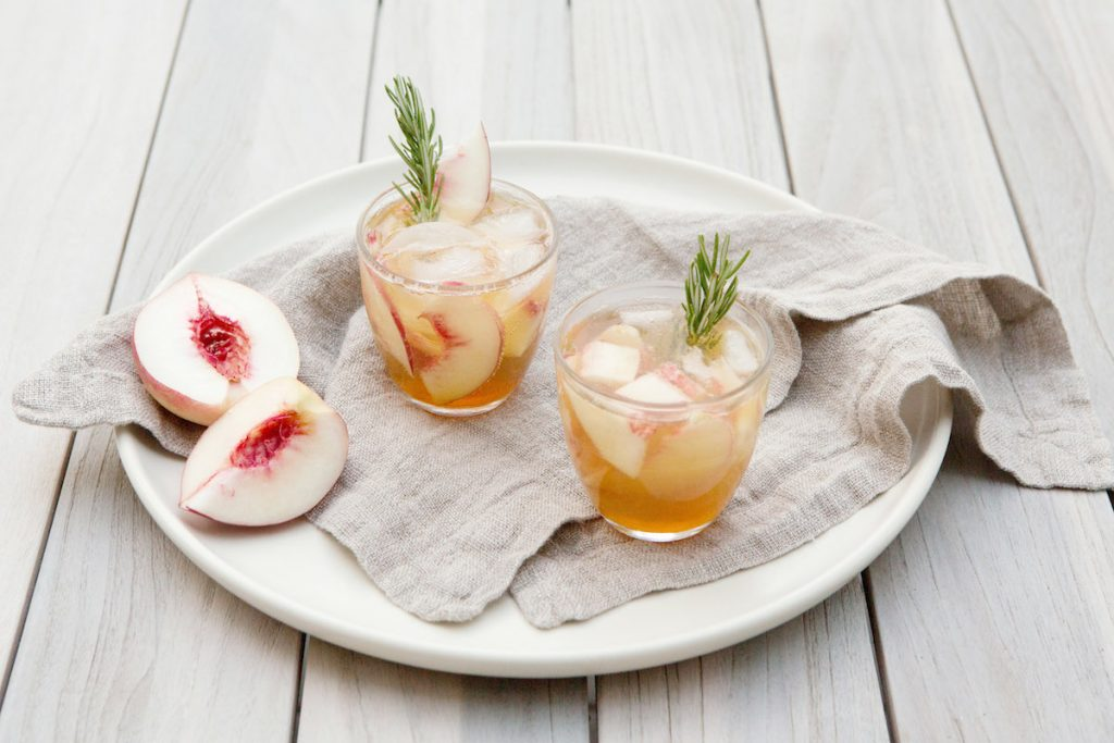 Rosemary Peach Maple Leaf Cocktail Recipe - Rip & Tan