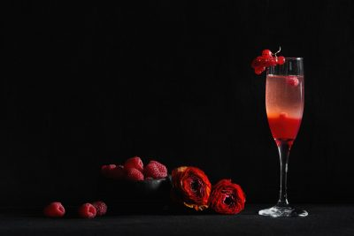 Passion Fruit and Raspberry Champagne Cocktail