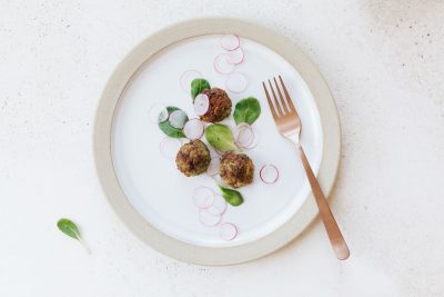 Sprouted Chickpea Croquettes with Yogurt, Tahini, and Coriander