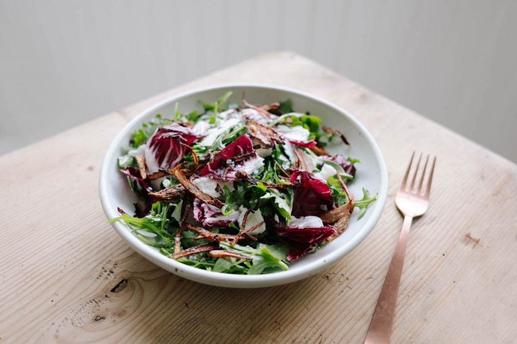 Arugula and Radicchio Salad with Crispy Shallots and Shallot Vinaigrette