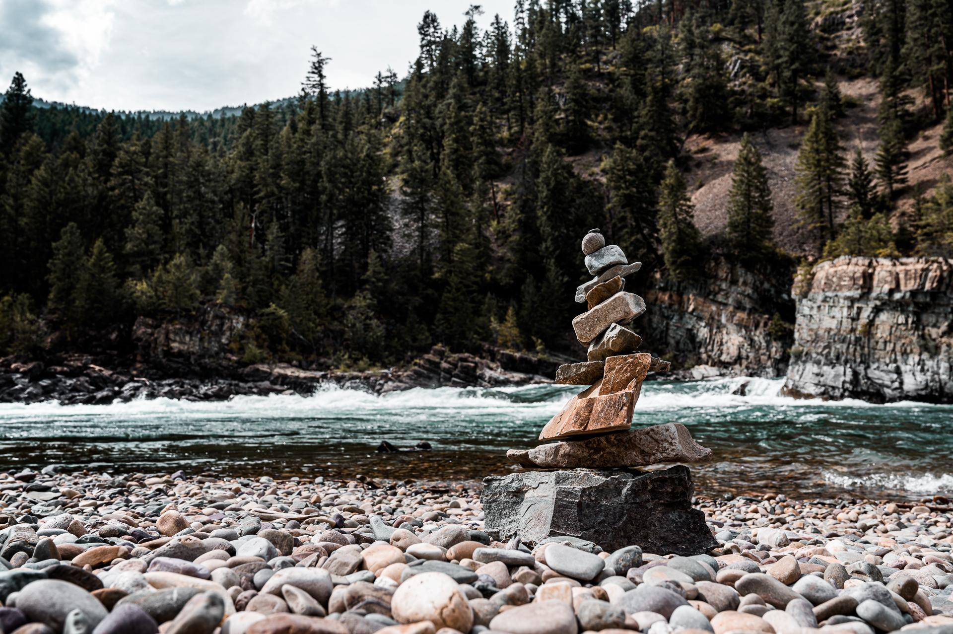 Stone Stack Along Kootenai River Near Kootenai Falls