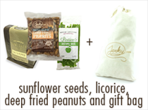 1 Free Random Sunflower Seeds + Licorice + Deep Fried Peanuts + Gift Bag