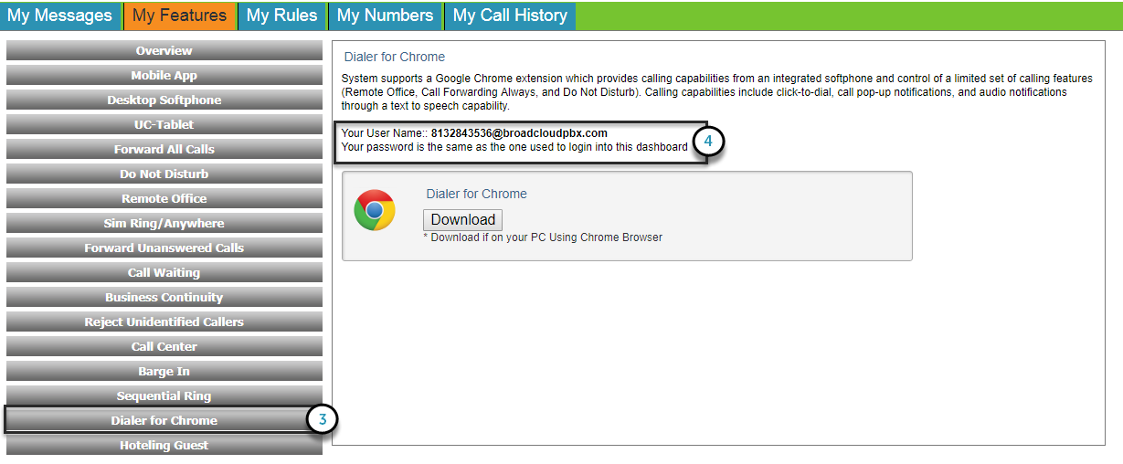 Dialer for Chrome - Broadsoft: Business General Support Center