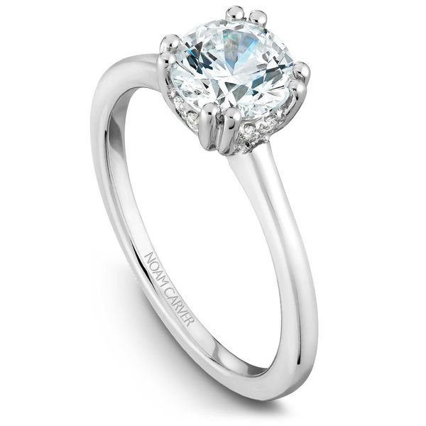 White Gold Engagement Ring With A Round Centerpiece And 8 Diamonds. Image 2 Barron's Fine Jewelry Snellville, GA